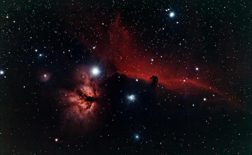 The nebula region around the star Alnitak, the eastern most star of Orion's Belt, included IC434, IC432, IC431, IC 2023, Flame and Horse Head nebulas.