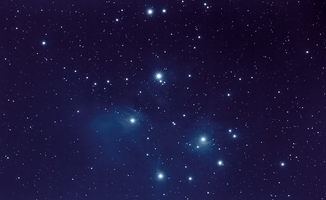 My first attempt at imaging the Pleiades. Imaged with the EF 600mm f/4 L II, Orion Atlas EQ-G, Orion SSAG guider, BackyardEOS, DeepSkyStacker, and Photoshop.