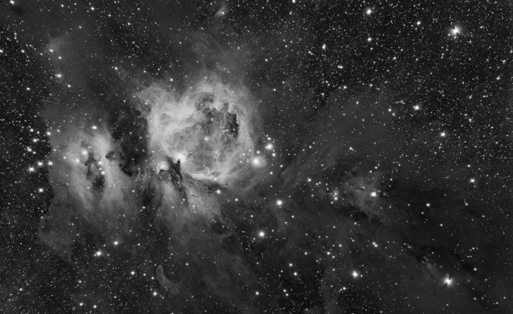 Orion's Sword Wide Field - Monochrome